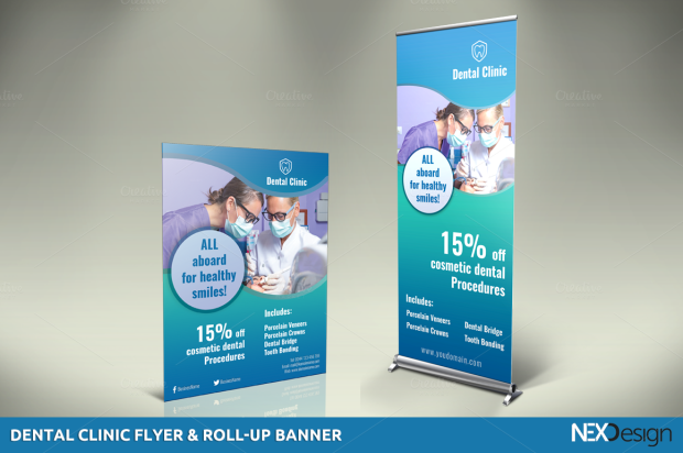 Dental Clinic Flyer & Roll-Up Banner