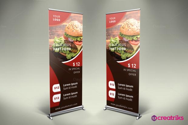 Fast Food Roll Up Banner - v008