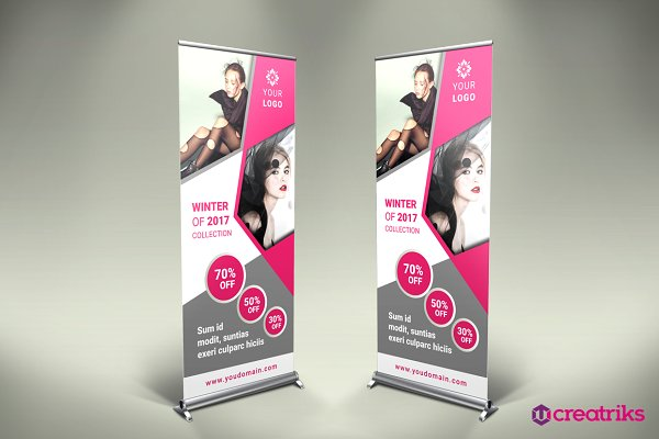 Fashion roll up banner template psd