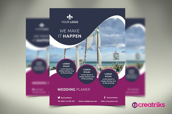 Wedding service flyer template